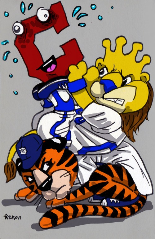 Paws crushed beneath Sluggerrr and the dumb Cleveland C.