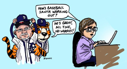 """person sitting at a laptop asking """"How's Baseball Santa working out?"""" Older man squishing Tigers hat on top of Twins hat, Tiger mascot standing behind him says """"He's great, all fine, no worries!"""""""
