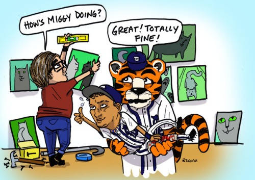 """Person hanging up artwork with a level asks """"How's Miggy doing?"""" Tiger mascot holding baseball player with injured leg in his arms says """"Great! Totally fine!"""""""