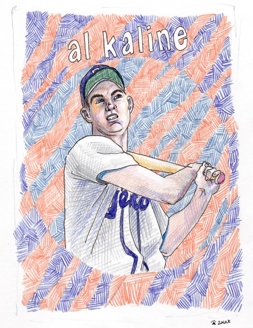 colored pencil drawing of young Al Kaline with tiger striped background