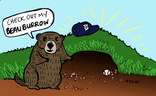 groundhog gesturing to burrow with baseball hat on it, speech bubble says 'Check out my Beau Burrow'