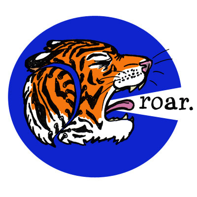 tiger head with baseball seams saying 'roar.'
