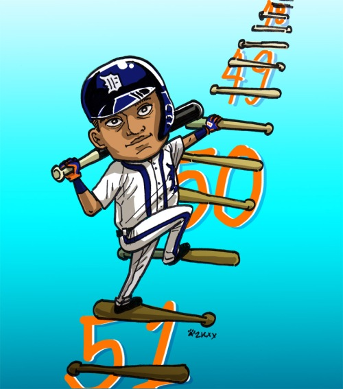 cartoon of Miguel Cabrera climbing ladder of bats, number 50 behind ladder where he's standing