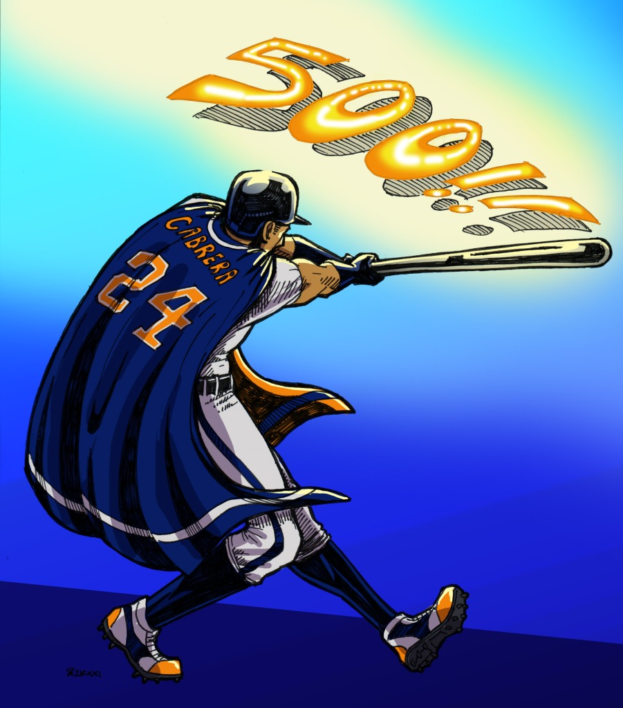 Comic-book style drawing of Miguel Cabrera, wearing a navy cape with his name and number on it, swinging a bat. The number 500, glowing in orange and yellow, is coming off the bat.